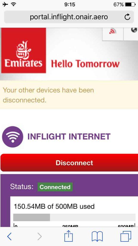 エミレーツ航空の機内WIFIに接続