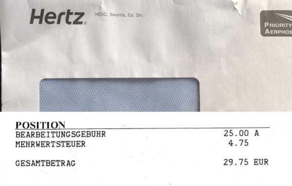 ドイツのハーツレンタカーからスピード違反の請求が来た