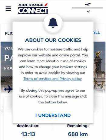 エールフランスの機内WiFiのクッキー承認画面