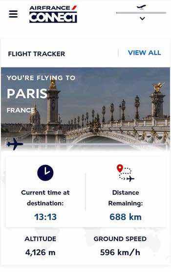 エールフランスの機内WiFiのポータル画面
